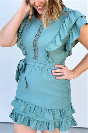 Hedge Green Ruffled Dress - Sweetly Striped