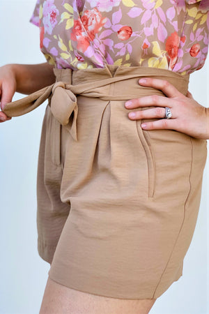 Tan Paper Bag Tie Front Shorts - Sweetly Striped