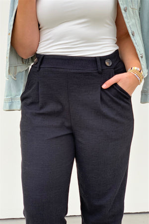 Black High-Waisted Button Trousers - Sweetly Striped