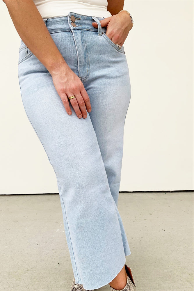 Light Wash Wide Leg Jeans - Sweetly Striped