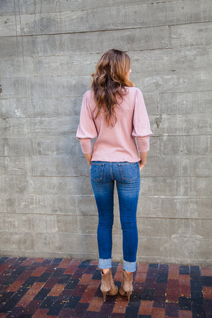 Frayed Bottom Blue Denim - Sweetly Striped