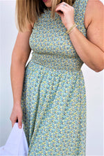 Mint Smocked Midi Dress