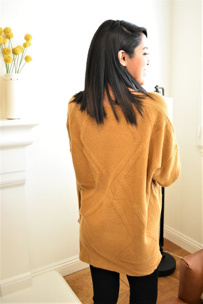 Cozy Camel Diamond Sweater - Sweetly Striped