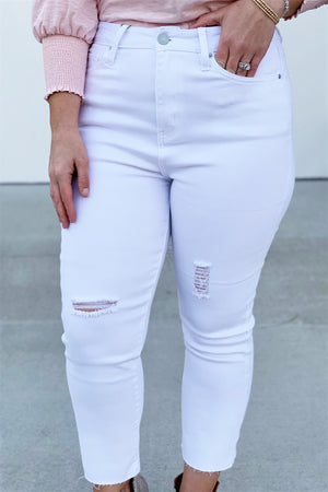Vintage White Anklet High Rise Jeans - Sweetly Striped