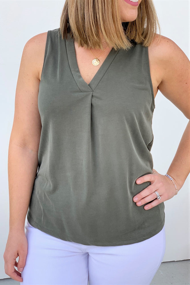 Olive Tank - Sweetly Striped
