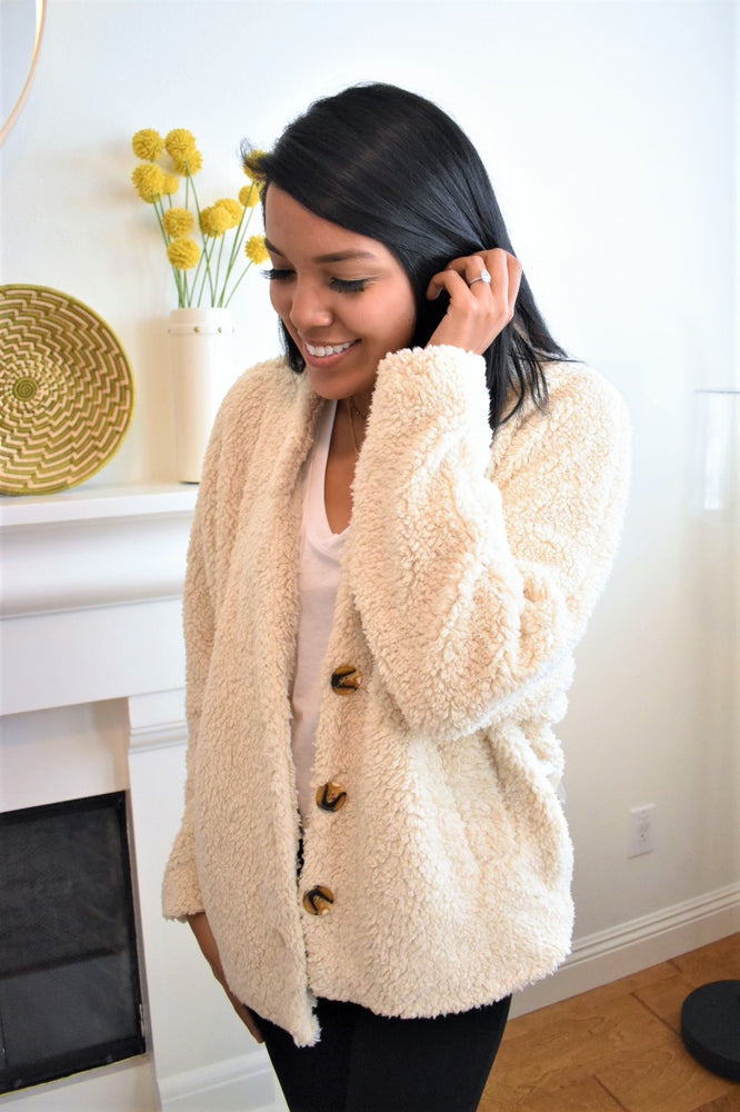 Fuzzy Everyday Teddy Coat - Sweetly Striped