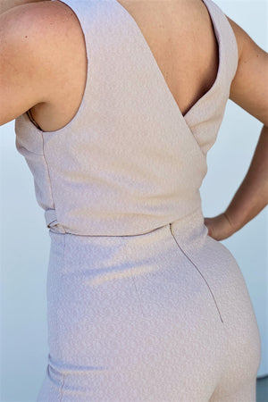 Dreamy Champagne Jumpsuit - Sweetly Striped
