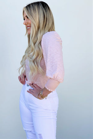 Blushing Shoulder Top - Sweetly Striped