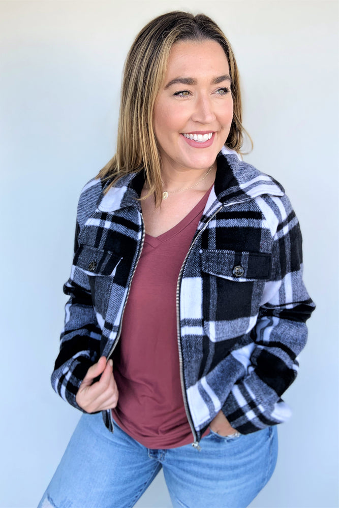 Plaid Woven Zip Up Jacket