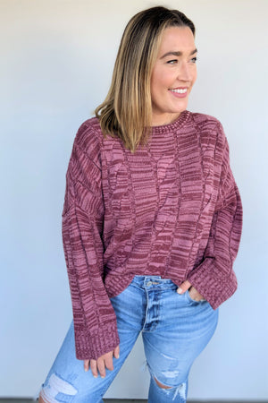 Berry Heathered Sweater