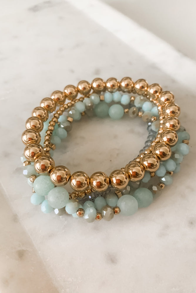 Aqua and Gold Beaded Bracelet Set