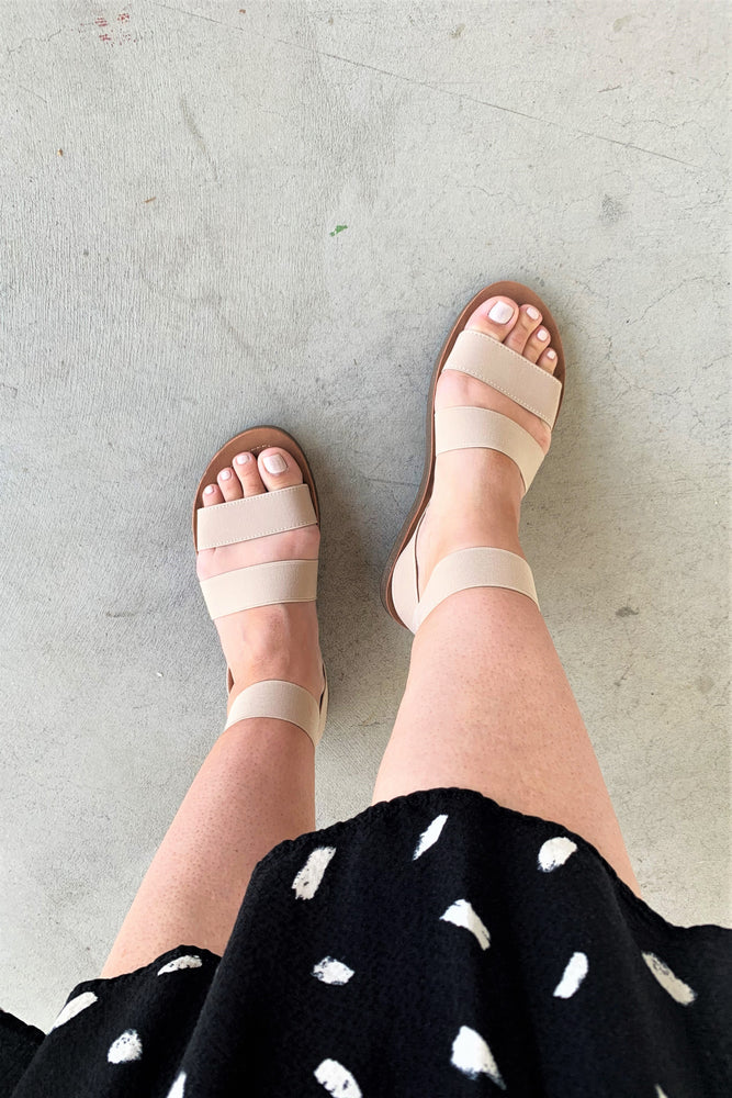 Nude Strappy Elastic Sandals