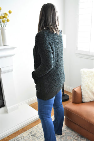 Forest Green Popcorn Cardigan - Sweetly Striped