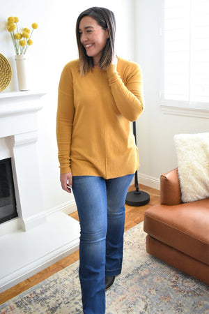 Soft Contrast Panel Sweater