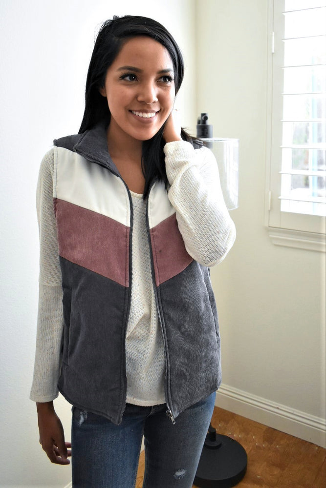 Corduroy Color Block Vest - Sweetly Striped