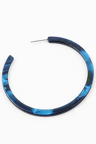 Marbled Large Thin Hoops - Navy