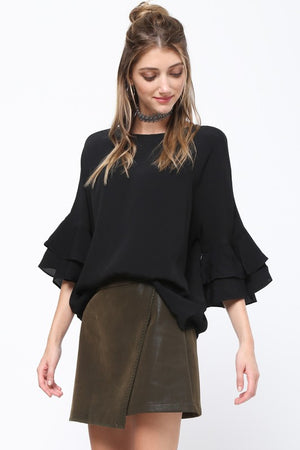 Split Leather Skirt - Sweetly Striped