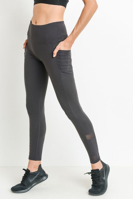 High Waist Moto Legging - Grey - Sweetly Striped