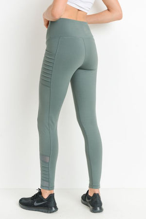 High Waist Moto Legging - Green - Sweetly Striped