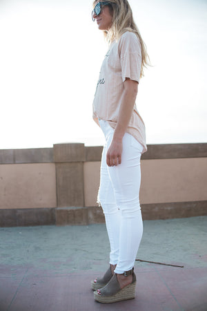 'Sarah' Distressed White Crop Jeans - Sweetly Striped