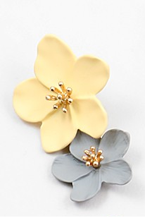 Flower Earrings - Beige - Sweetly Striped
