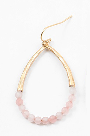 Beaded Gold Hoops - Sweetly Striped