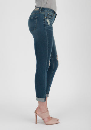 'Calypso' Distressed Skinny Jeans - Sweetly Striped