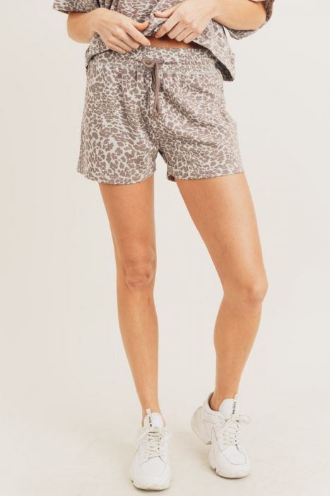 Cheetah Drawstring Shorts - Sweetly Striped