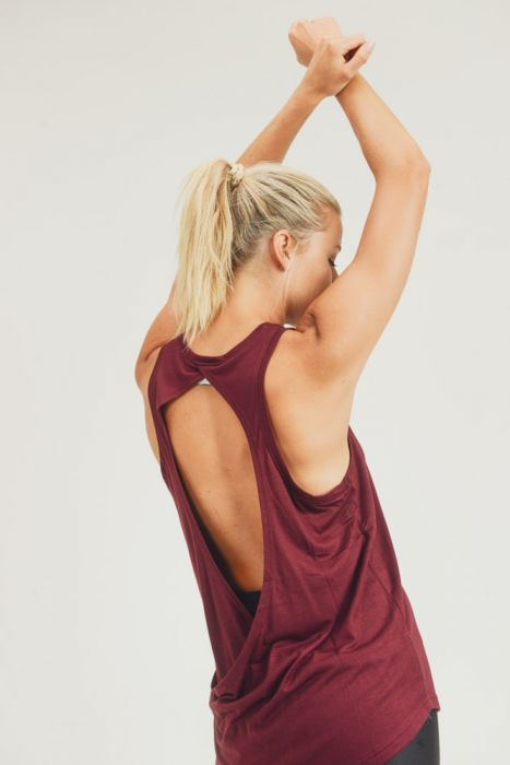 Open Back Tank Top - Burgundy
