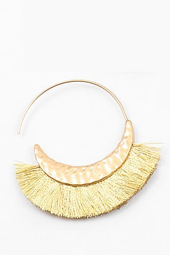 Mini Fringe Hoops - Gold - Sweetly Striped