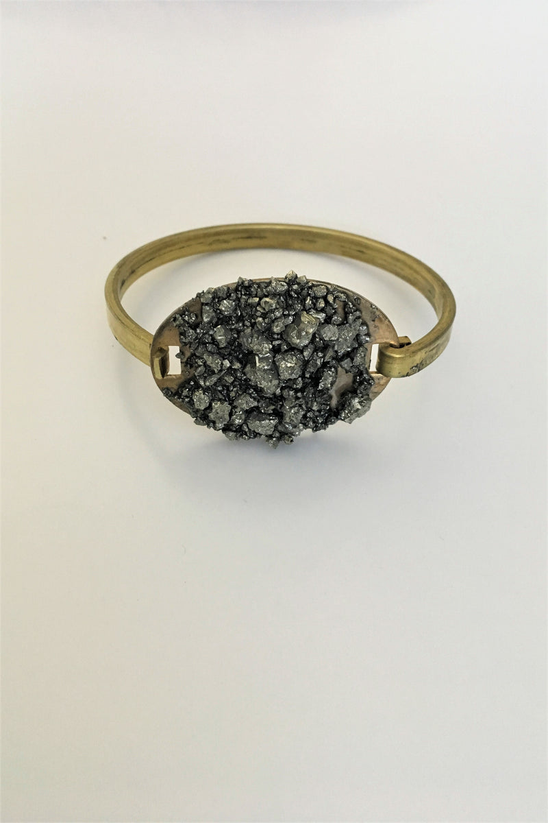 Oval Pyrite Cuff - Sweetly Striped