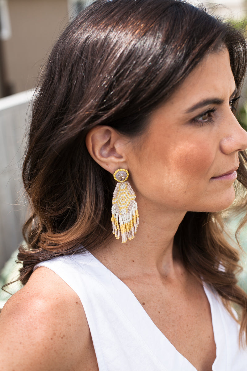 Native Statement Earrings - Sweetly Striped