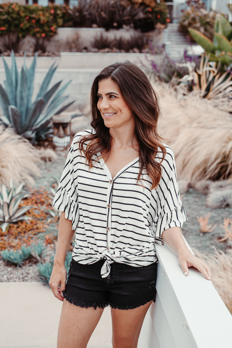 Relaxed Button Down Top - Sweetly Striped