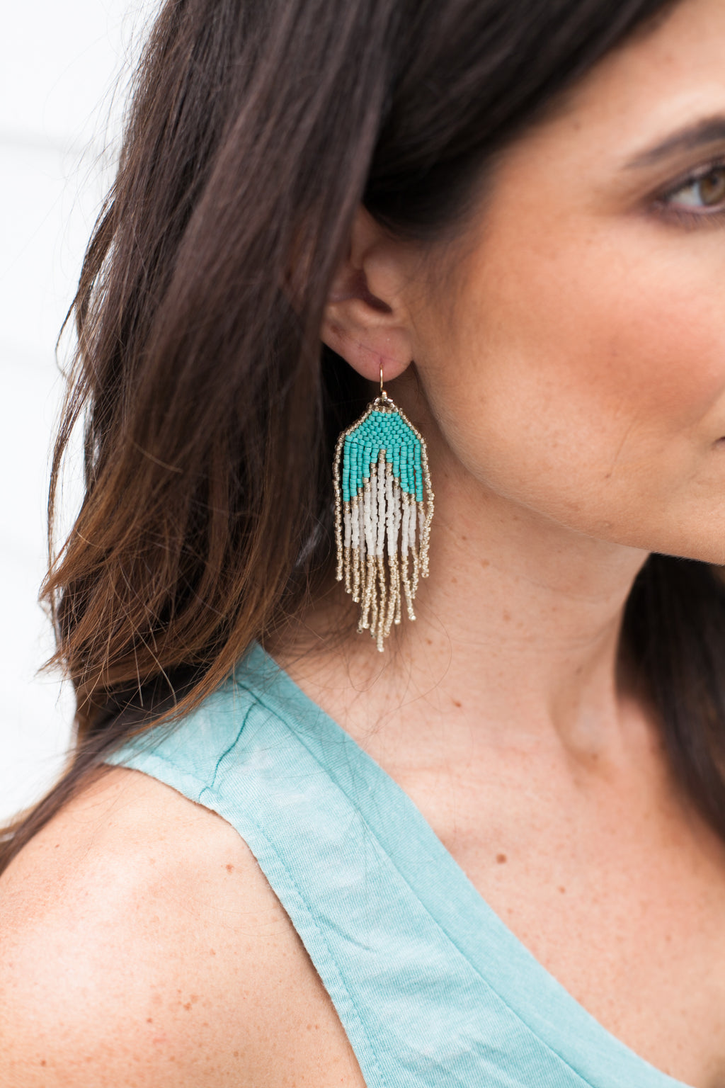 Beaded Drop Down Earrings - Sweetly Striped