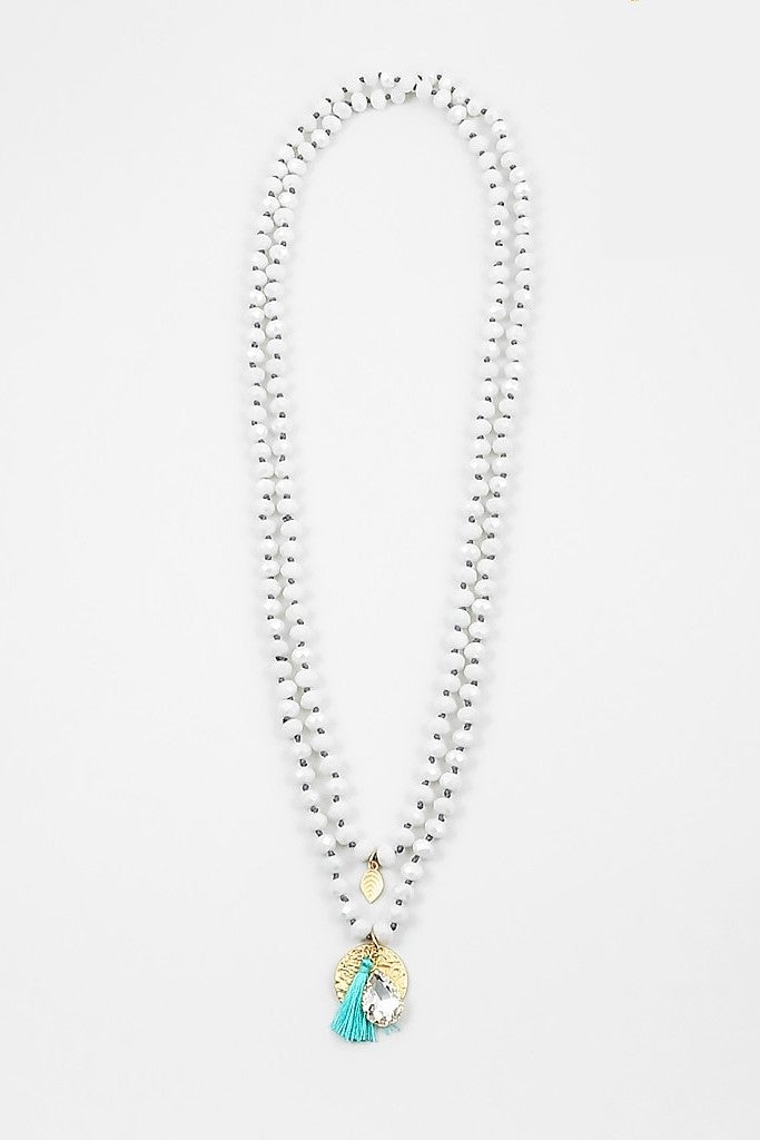 Beaded Layered Necklace - Sweetly Striped