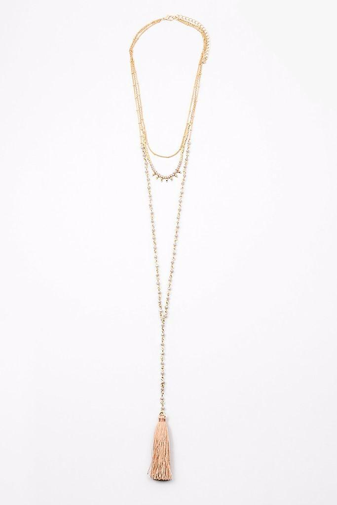 Multi Chain Tassel Necklace - Sweetly Striped