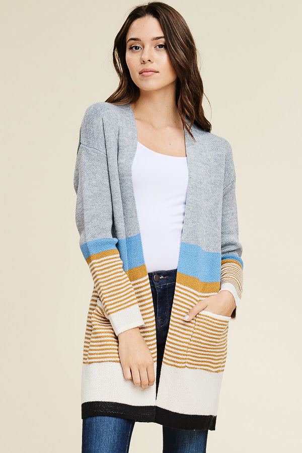 Color Block Open Front Cardigan - Sweetly Striped