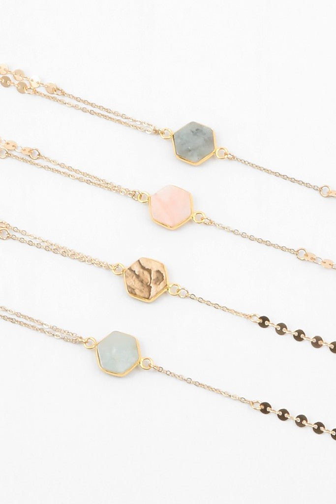 Hexagon Stone Necklace - Sweetly Striped