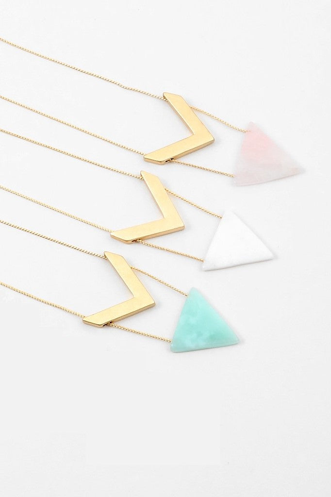 Triangle Stone Necklace - Sweetly Striped