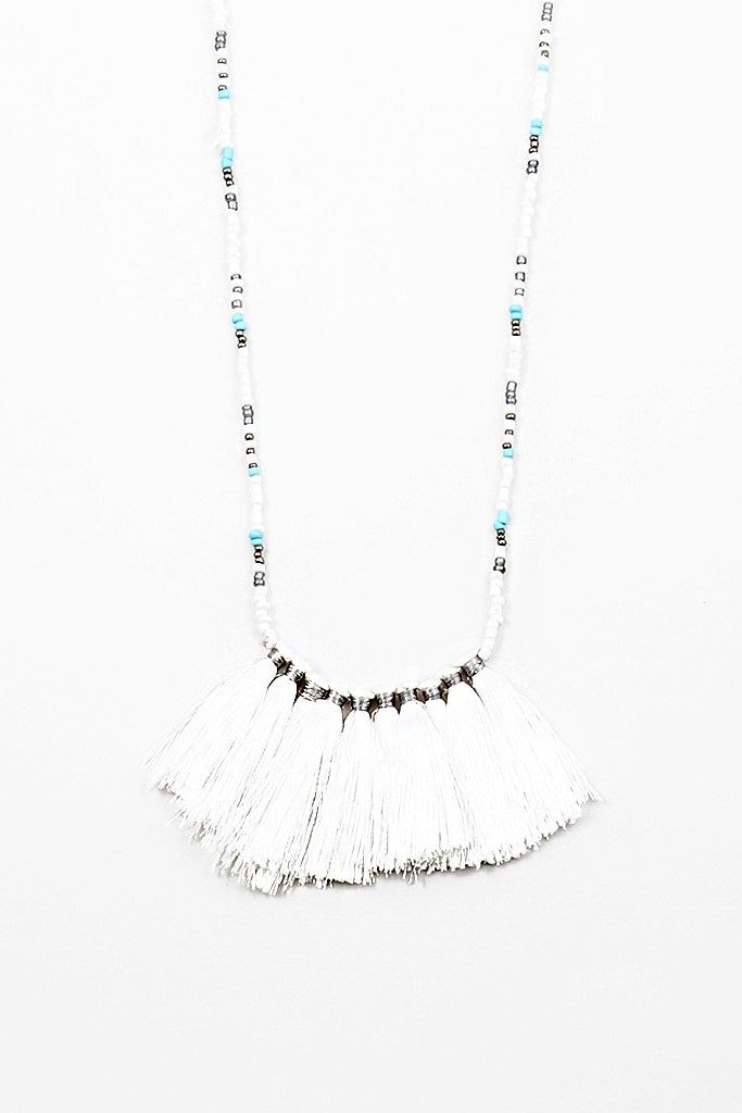Beachy Tassel Necklace - Sweetly Striped