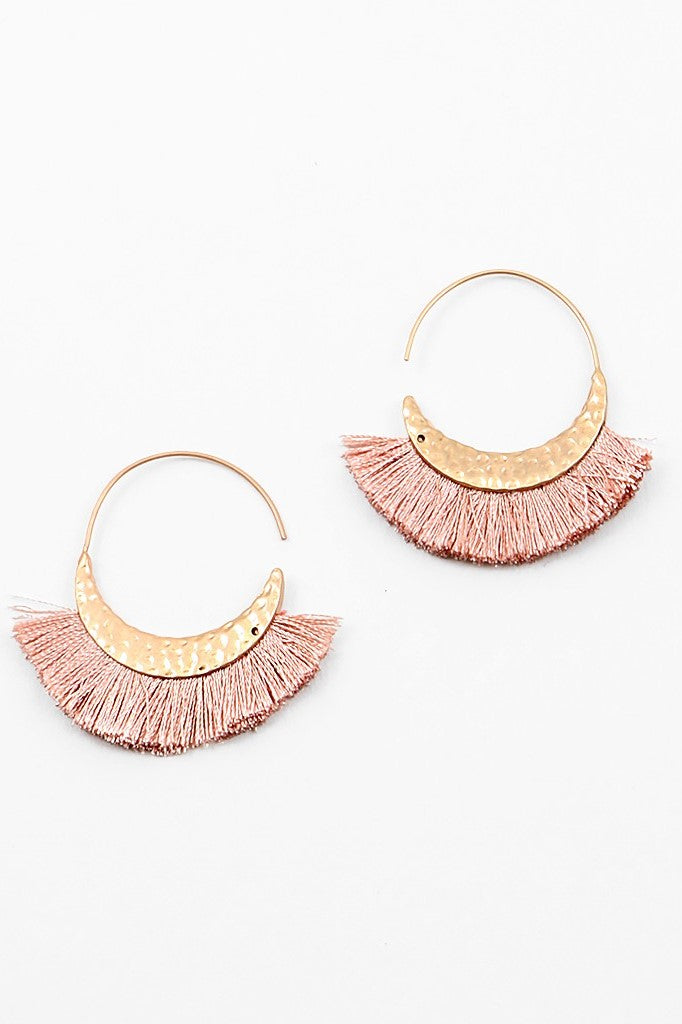 Mini Fringe Hoops - Mauve - Sweetly Striped