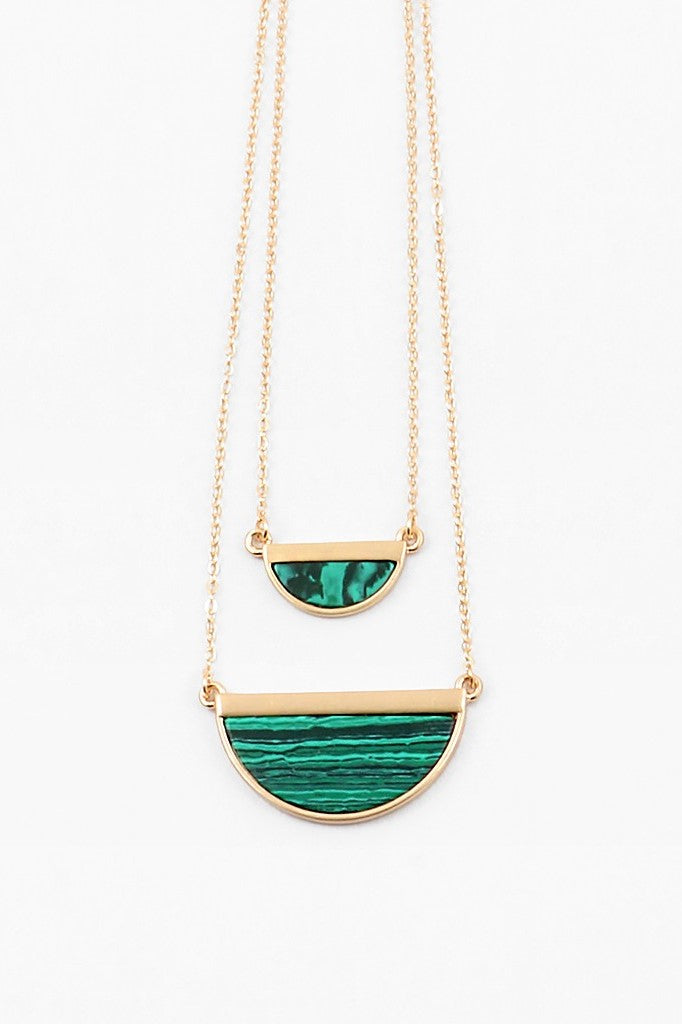 Half Moon Layered Necklace - Emerald - Sweetly Striped