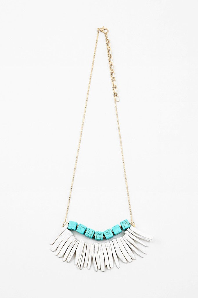 Layered Stone Necklace - Mint - Sweetly Striped