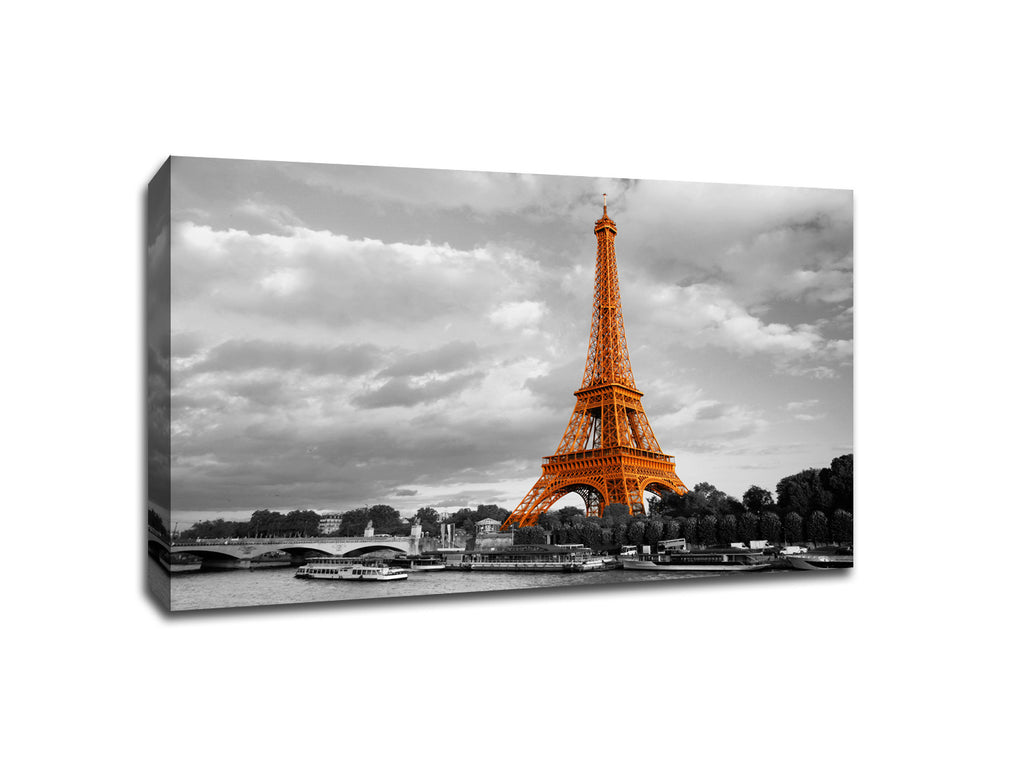 Eiffel Tower over The Seine Touch of Color Canvas
