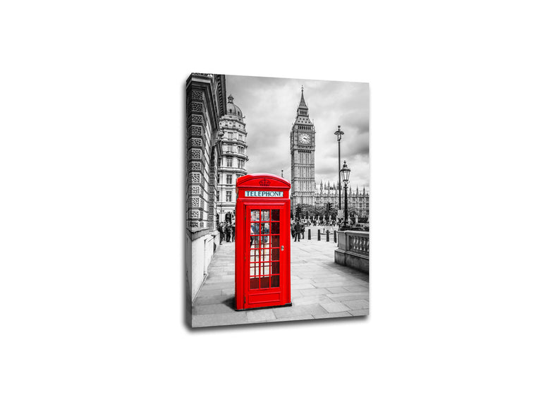 London Telephone Booth Touch of Color Canvas