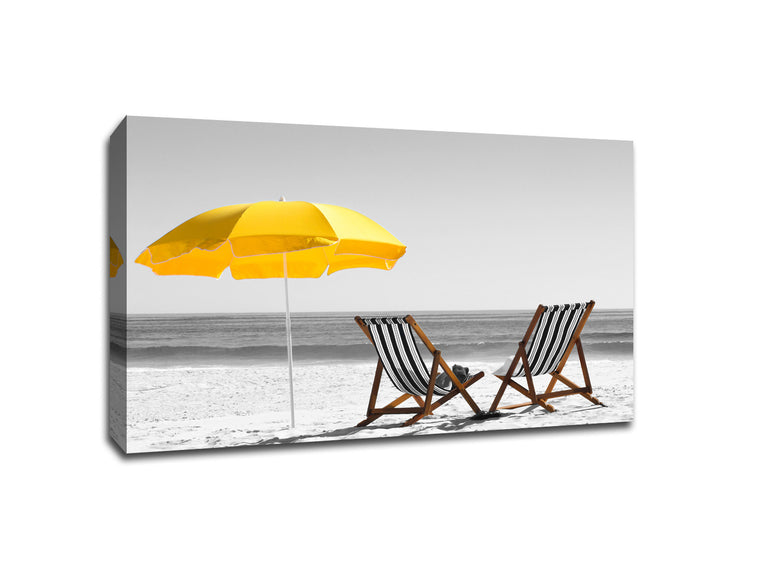Beach Chairs on Sand Touch of Color Canvas