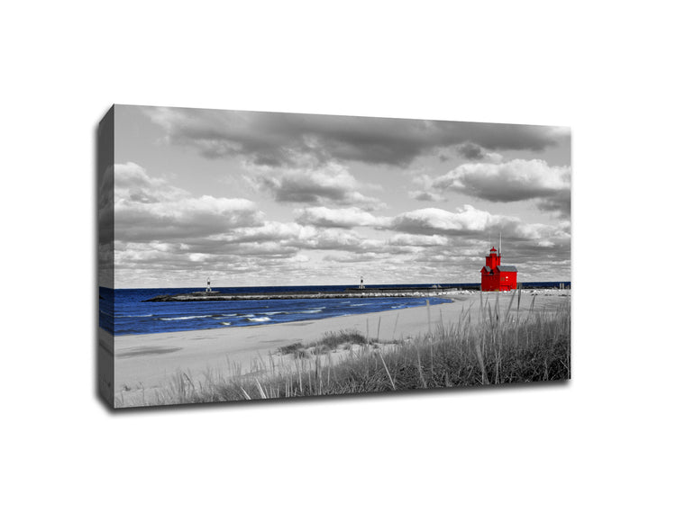 Red Lighthouse on Lake Michigan Touch of Color Canvas