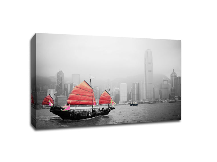 Sailboat in Hong Kong Touch of Color Canvas