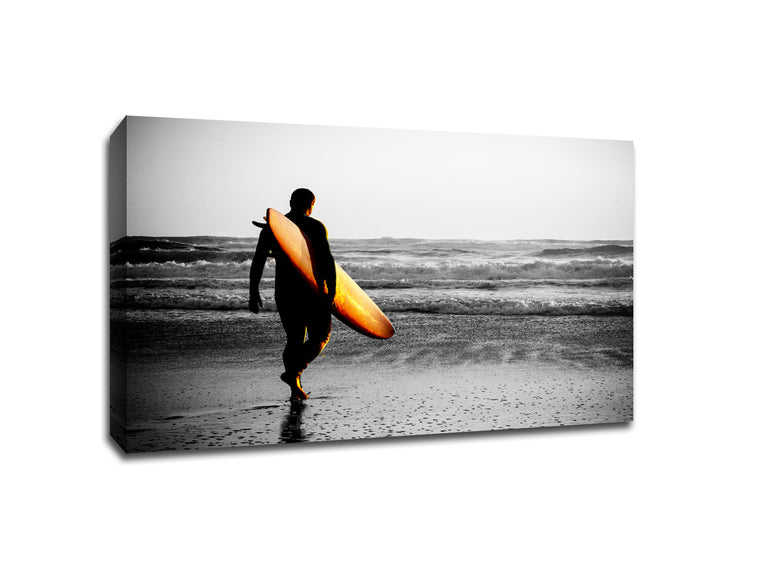 Surfer Walking The Beach Touch of Color Canvas