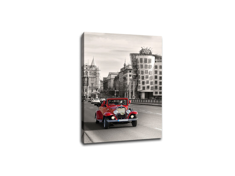 Vintage Car in Prague Touch of Color Canvas
